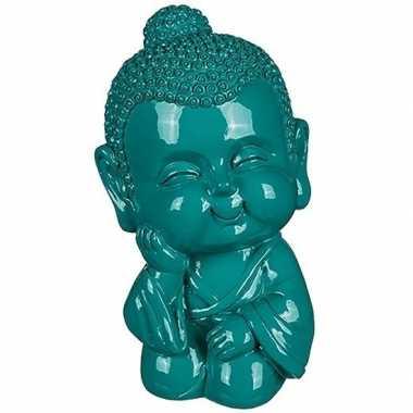 Grote boeddha spaarpot groen