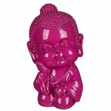 Grote boeddha spaarpot roze