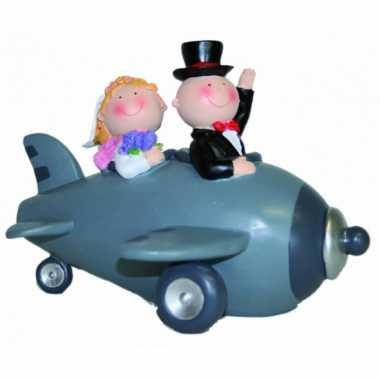 Grote  Bruidspaar vliegtuig spaarpot