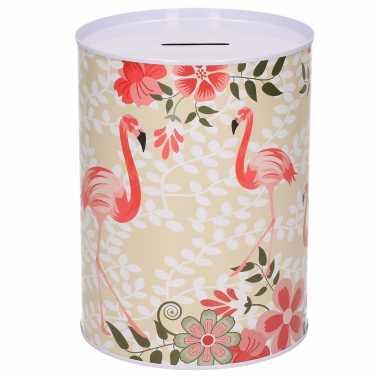 Grote dieren spaarpot flamingo bloemen metaal