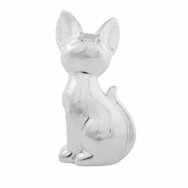 Grote dieren spaarpot zilveren siamese kat/poes