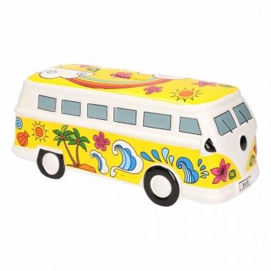 Grote gele porseleinen autobus spaarpot