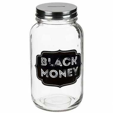 Grote glazen spaarpot black money