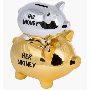 Grote goud/zilveren spaarvarken his/her spaarpot