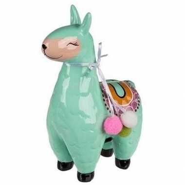 Grote groene alpaca / lama spaarpot