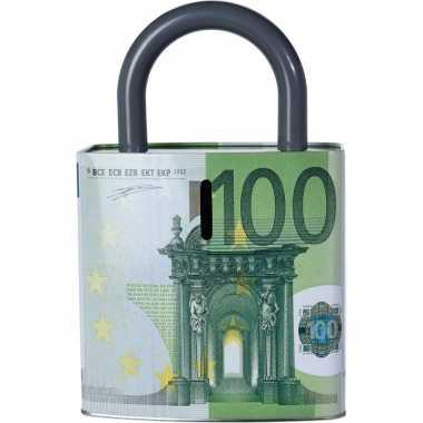 Grote groene spaarpot euro biljet