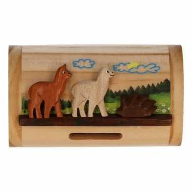 Grote houten spaarpot alpaca/lama