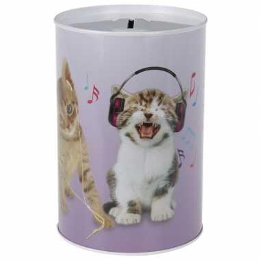 Grote katten/poezen koptelefoon spaarpot