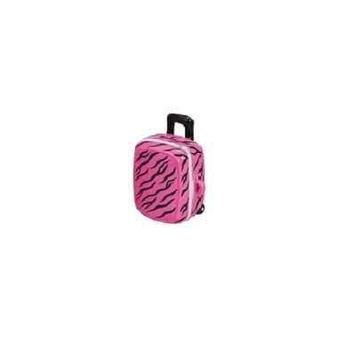 Grote koffer spaarpot roze zwart