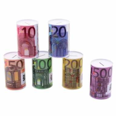 Grote metalen spaarpot euro biljet