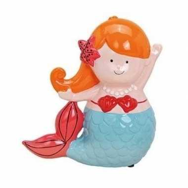 Grote oranje/blauwe zeemeermin spaarpot