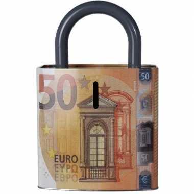 Grote oranje spaarpot euro biljet