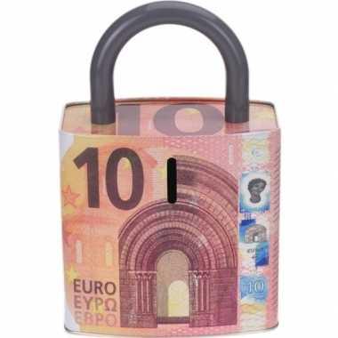 Grote rode spaarpot euro biljet