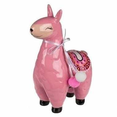 Grote roze alpaca / lama spaarpot