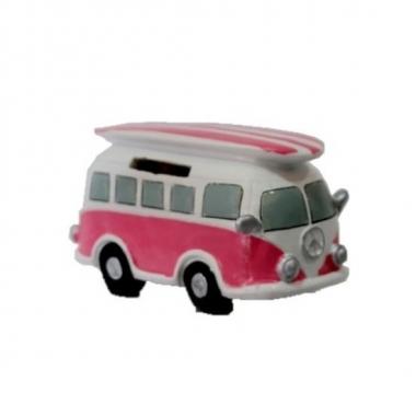 Grote roze hippie spaarpot volkswagen busje surfboard