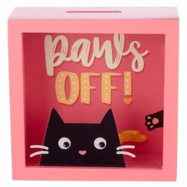Grote roze raam spaarpot zwarte kat/poes