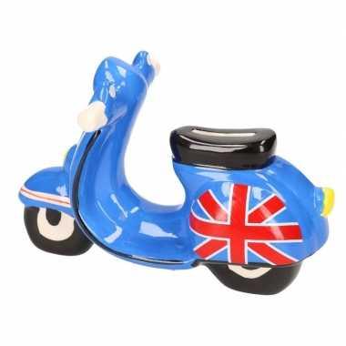Grote scooter spaarpot blauw