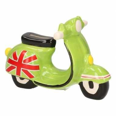 Grote scooter spaarpot groen