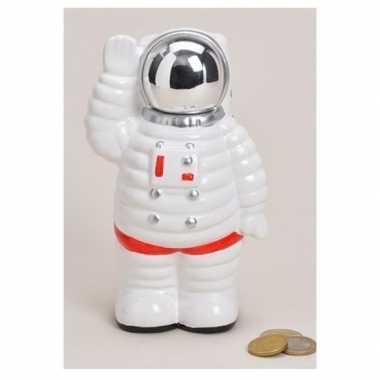 Grote spaarpot astronaut wit keramiek