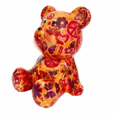 Grote spaarpot beer oranje love and peace