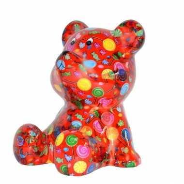 Grote spaarpot beer rood snoepjes