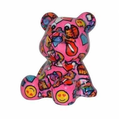 Grote spaarpot beer roze lippen smiley