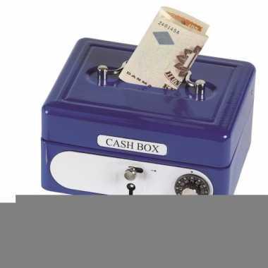 Grote  Spaarpot geldkistje blauw
