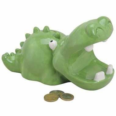 Grote spaarpot groene krokodil