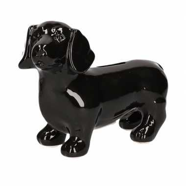 Grote spaarpot hond teckel zwart