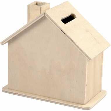 Grote spaarpot houten huisje