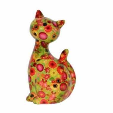 Grote xl spaarpot kat/poes groen bloemetjes