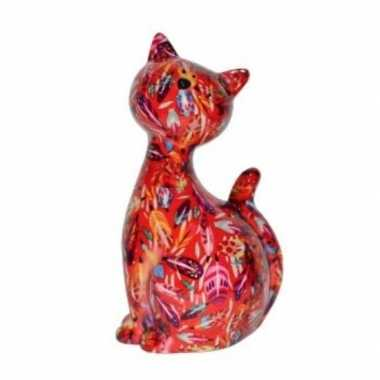 Grote xl spaarpot kat/poes rood bloemetjes