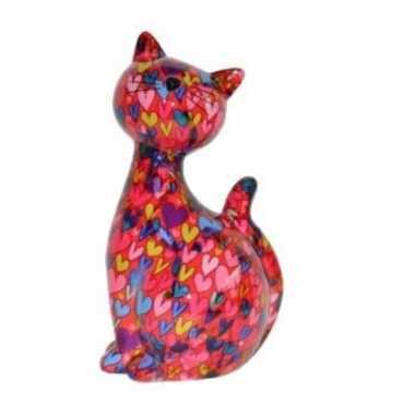 Grote xl spaarpot kat/poes roze hartjes