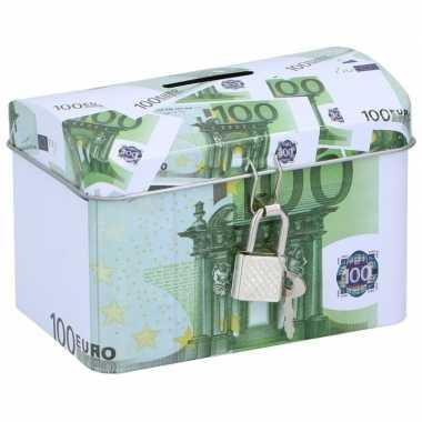 Grote spaarpot kistje euro biljet