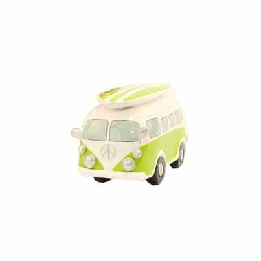 Grote spaarpot lime groene volkswagen bus
