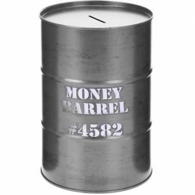 Grote spaarpot money barrel grijs