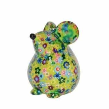 Grote spaarpot muis groen bloemen