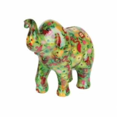 Grote spaarpot olifant groen bloemen