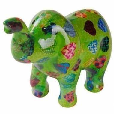 Grote spaarpot olifant groen hartjes