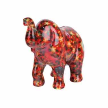 Grote spaarpot olifant rood bloemen