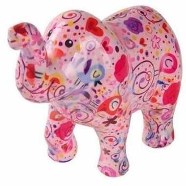 Grote spaarpot olifant roze bloemen