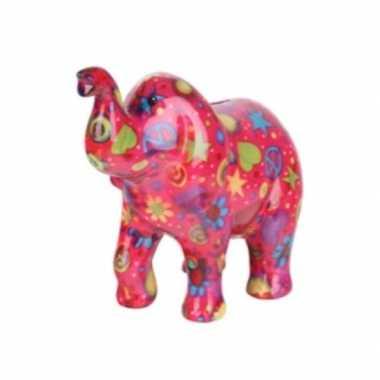 Grote spaarpot olifant roze peace teken