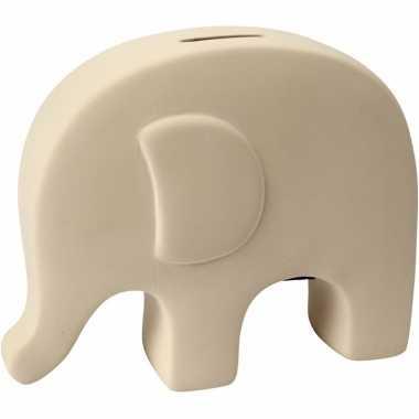 Grote spaarpot olifant wit klei