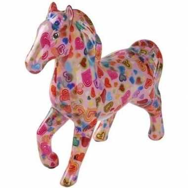 Grote spaarpot paard roze/hartjes