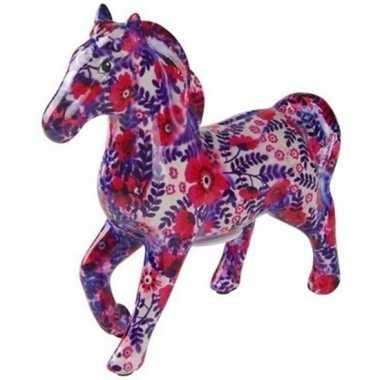 Grote spaarpot paard wit/paars/roze bloemen