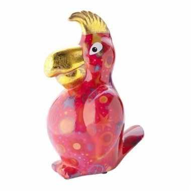Grote spaarpot papegaai rood