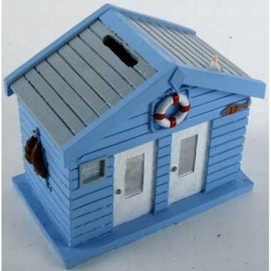 Grote spaarpot strandhuis blauw