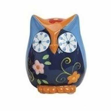 Grote spaarpot uil blauw/oranje keramiek