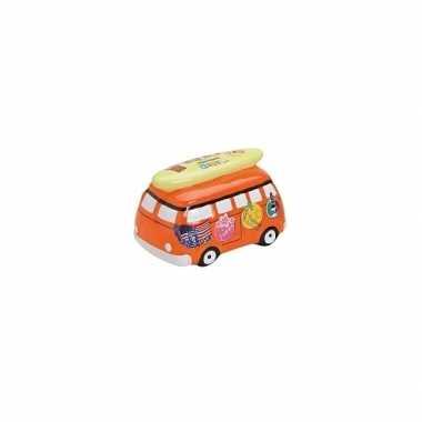 Grote spaarpot vakantie bus oranje
