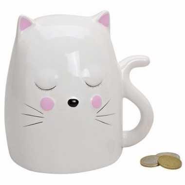 Grote spaarpot witte kat / poes